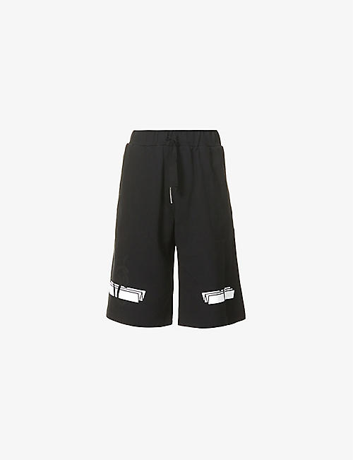 NICOMEDE: Wesley brand-print cotton-jersey shorts