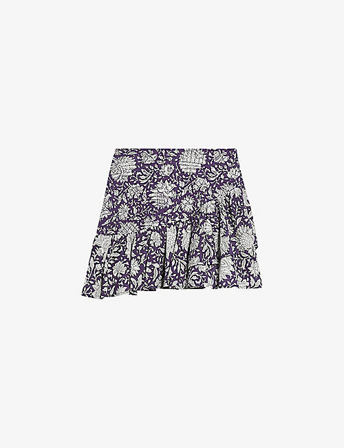 CLAUDIE PIERLOT: Sico high-waist floral-print cotton mini skirt