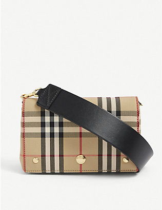 BURBERRY: Hackberry check-print canvas cross-body bag