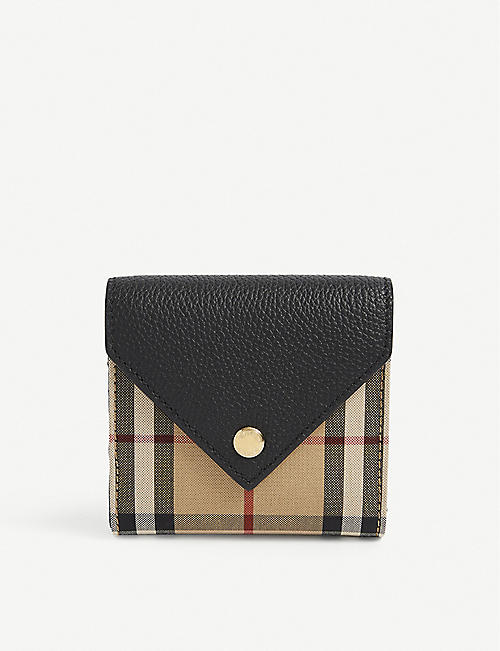 BURBERRY: Lila check-print leather wallet