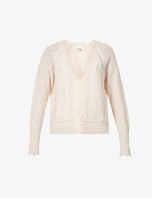 3.1 PHILLIP LIM: Scalloped trim alpaca-blend cardigan