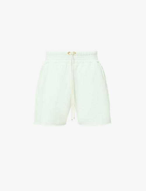 LES TIEN: Raw-hem high-rise cotton-jersey shorts
