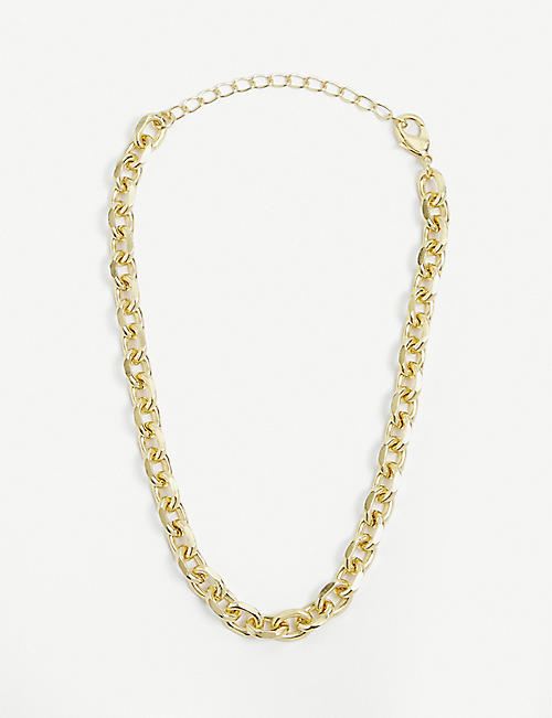 79HOUR: Anchor 14ct gold-plated brass necklace