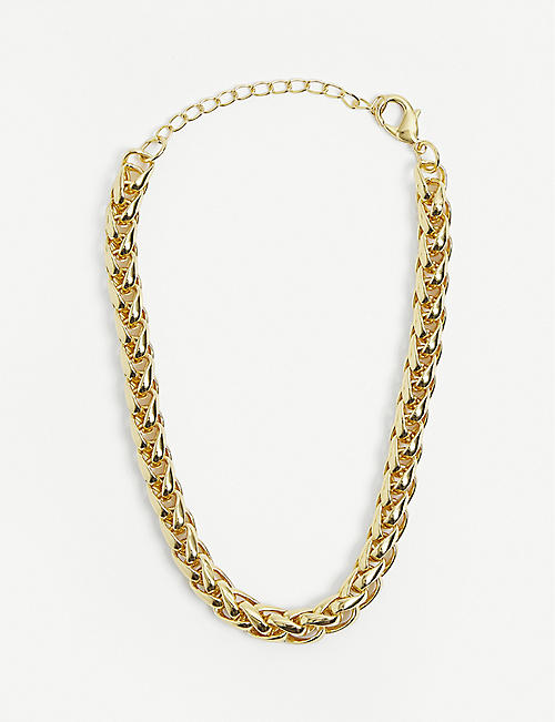 79HOUR: Long Boa 14ct gold-plated brass necklace
