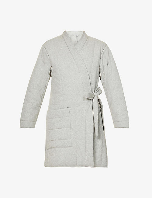 SKIN: Stormie short quilted cotton robe