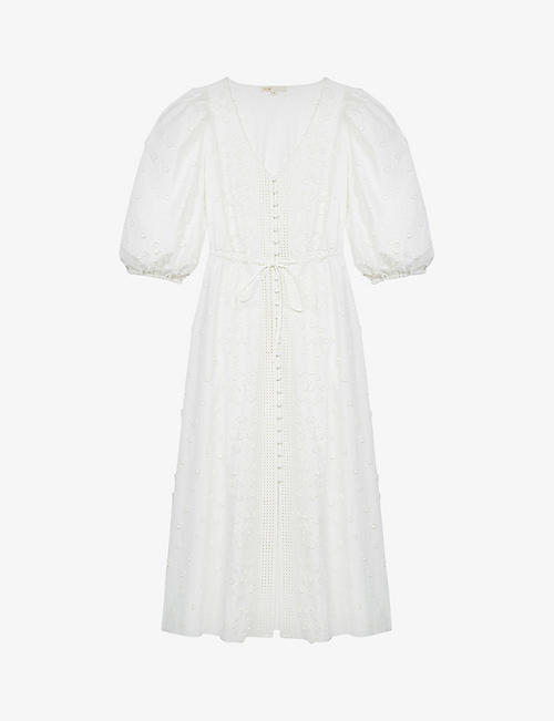MAJE: Roxitane floral-embroidered organic-cotton midi dress