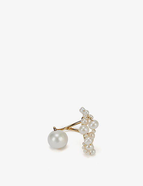 COMPLETEDWORKS: Speaking to the Penguins pearl and 14ct yellow gold-plated vermeil recycled sterling silver ring