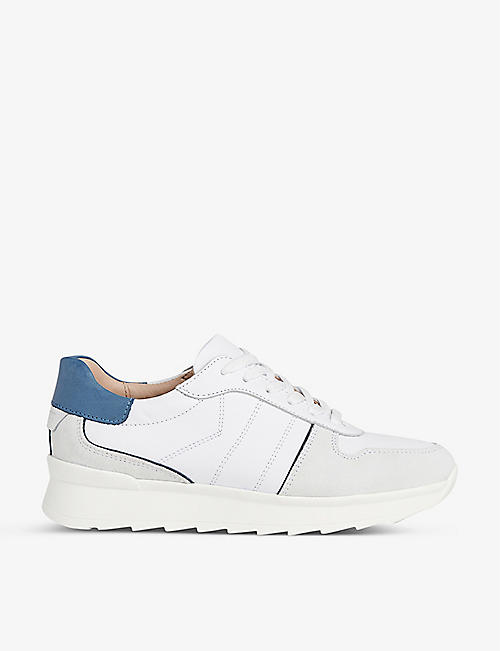 LK BENNETT: Tatiana leather and suede low-top trainers