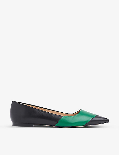 LK BENNETT: Posey pointed-toe leather ballet flats
