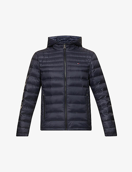 TOMMY HILFIGER: Logo-embroidered padded shell-down jacket