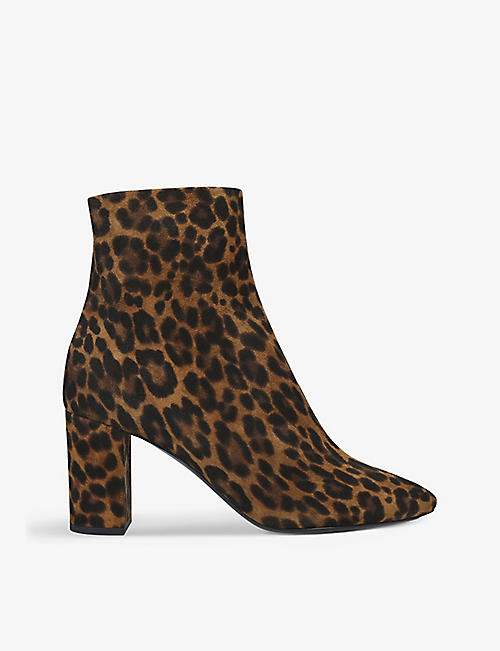 SAINT LAURENT: Loulou leopard-print suede heeled ankle boots