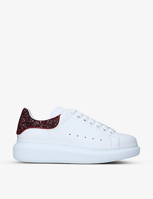 ALEXANDER MCQUEEN: Women's Runway glitter-panel leather trainers