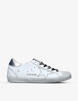 GOLDEN GOOSE: Superstar metallic-trim leather trainers