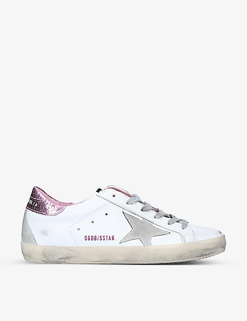 GOLDEN GOOSE: Superstar metallic snakeskin-embossed trim leather trainers