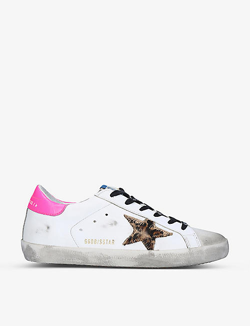 GOLDEN GOOSE: Superstar star-embroidered leather trainers