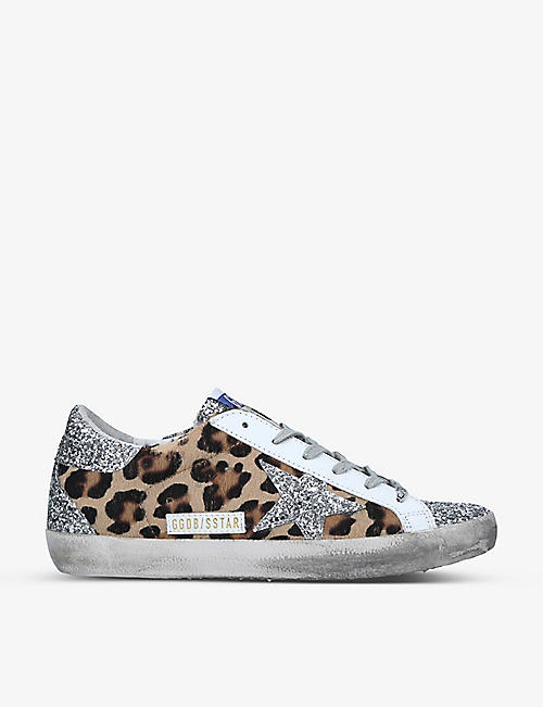 GOLDEN GOOSE: Superstar leopard-print distressed suede and calf-hair trainers