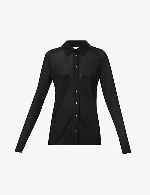 REISS: Nancy patch-pocket knitted shirt