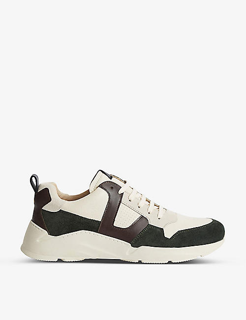 REISS: Shelton logo-print leather trainers