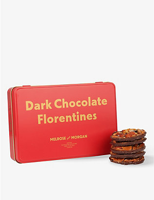 MELROSE & MORGAN: Dark chocolate Florentine tin 250g