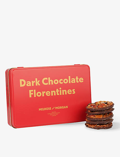 MELROSE & MORGAN: Dark chocolate Florentine tin 270g