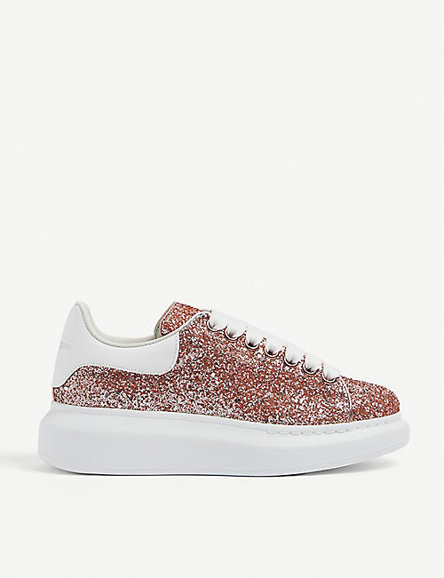 ALEXANDER MCQUEEN: Women's Runway glitter-leather platform trainers
