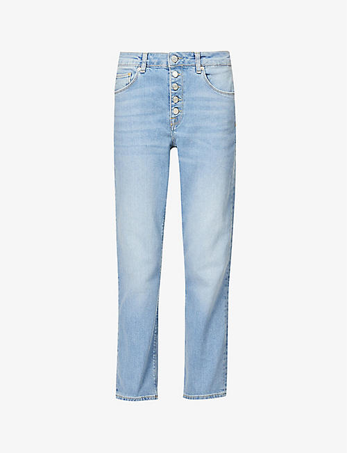 REISS: Bailey cropped straight-leg mid-rise stretch-denim jeans