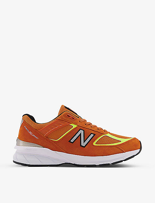NEW BALANCE: 990v5 logo-embroidered suede and mesh trainers