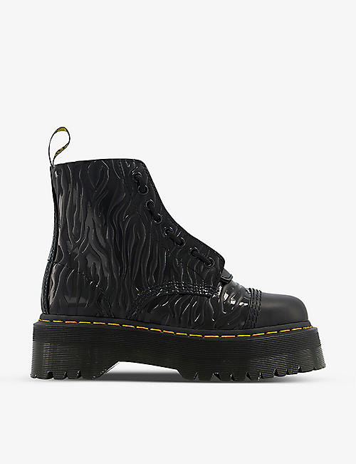 DR. MARTENS: Sinclair zebra-embossed platform leather boots