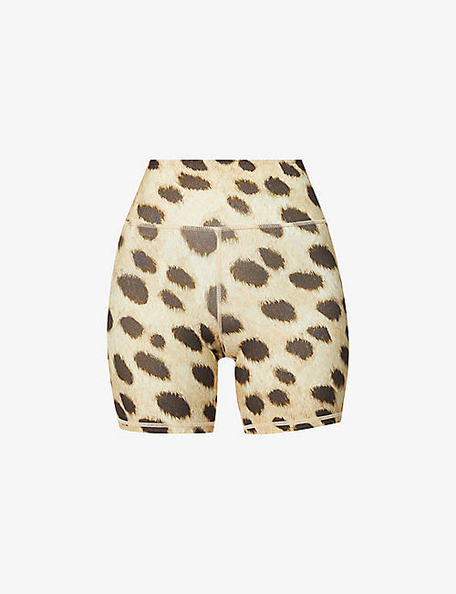 WEWOREWHAT: Leopard-print high-rise stretch-jersey bike shorts