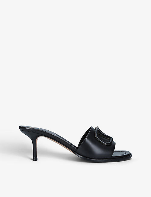 VALENTINO GARAVANI: Logo-embellished leather heeled mules
