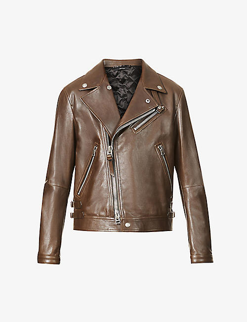 TOM FORD: Biker-collar zipped leather jacket