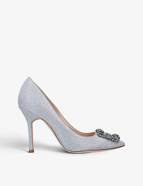 MANOLO BLAHNIK: Hangisi 105 crystal-embellished metallic-woven courts