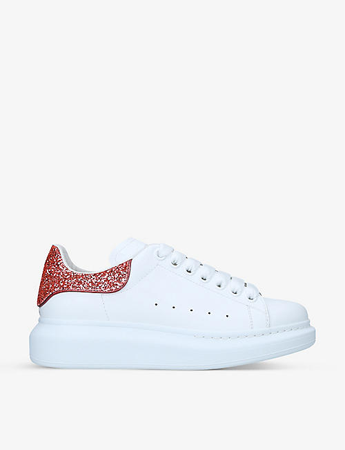 ALEXANDER MCQUEEN: Women's Runway glitter-embellished leather trainers