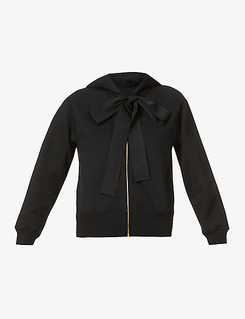 PATOU: Ribbon-embellished zipped cotton-jersey hoody