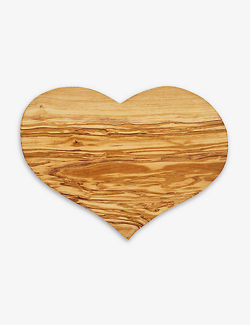 SEGGIANO: Olive-wood heart serving board 23cm