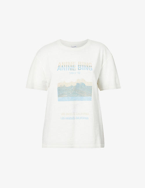 ANINE BING: Harper graphic-print cotton-jersey T-shirt