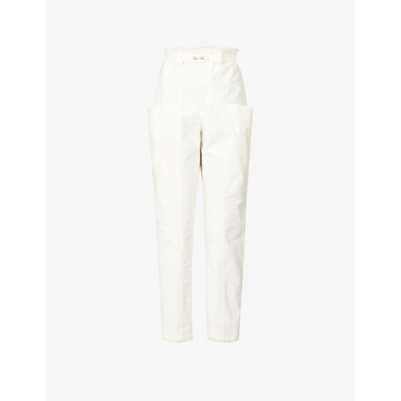 Isabel Marant Cottons ENUCIE HIGH-RISE STRETCH-LINEN AND COTTON-BLEND TROUSERS