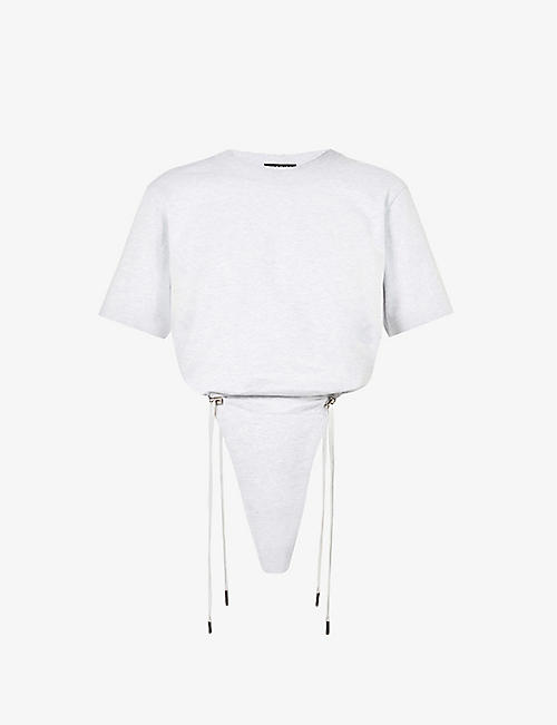 Y/PROJECT: Ruched cotton-jersey bodysuit