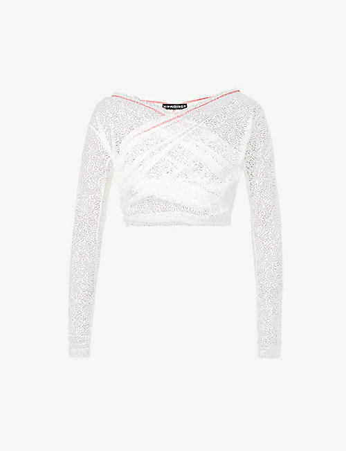 Y/PROJECT: Twisted semi-sheer lace top