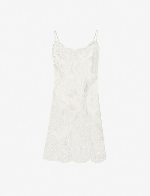 MARJOLAINE: Melinda lace-panel stretch-silk chemise