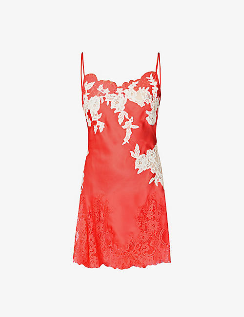 MARJOLAINE: Messaline satin and lace mini nightdress