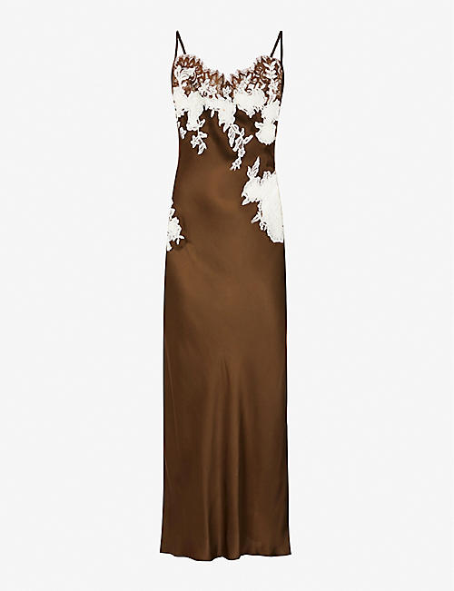 MARJOLAINE: Messaline satin and lace maxi nightdress