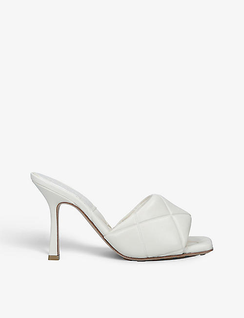 BOTTEGA VENETA: Padded quilted-leather heeled mules