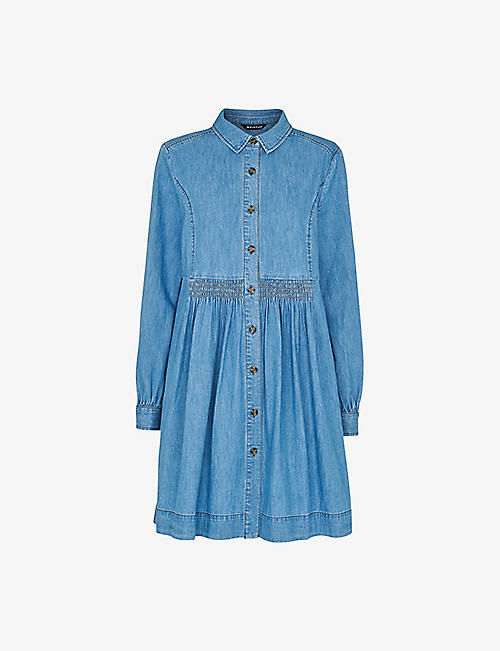 WHISTLES: Chambray buttoned denim mini dress