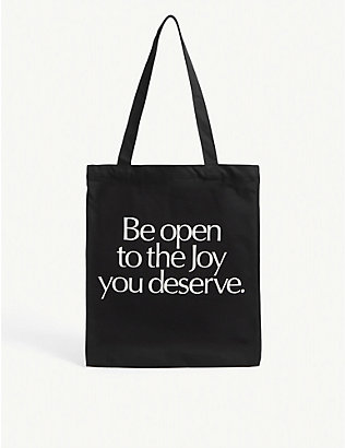 MORE JOY: Be Open To The Joy You Deserve-print canvas tote bag