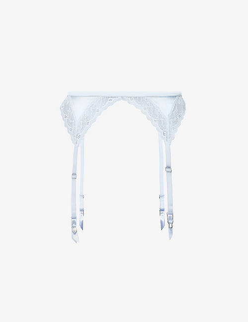 FLEUR DU MAL: Gardenia embroidered stretch-mesh suspender belt