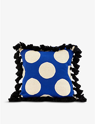 COLVILLE: Busy polka-dot cotton-canvas cushion