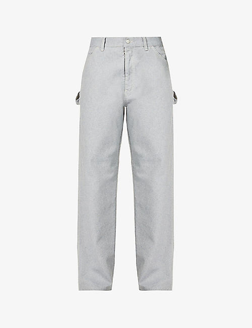 MAISON MARGIELA: Side-hoop high-rise relaxed-fit wide jeans