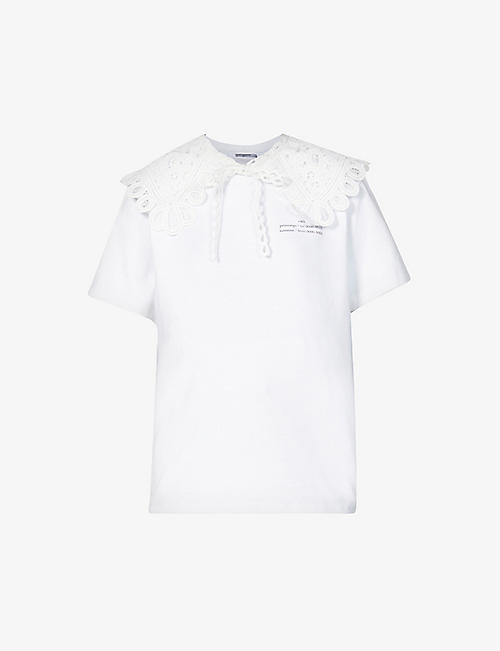 ROKH: Detachable lace-collar cotton-jersey T-shirt