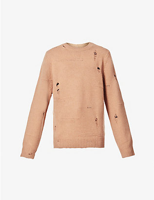 HELMUT LANG: Distressed-pattern wool, yak and cashmere-blend jumper